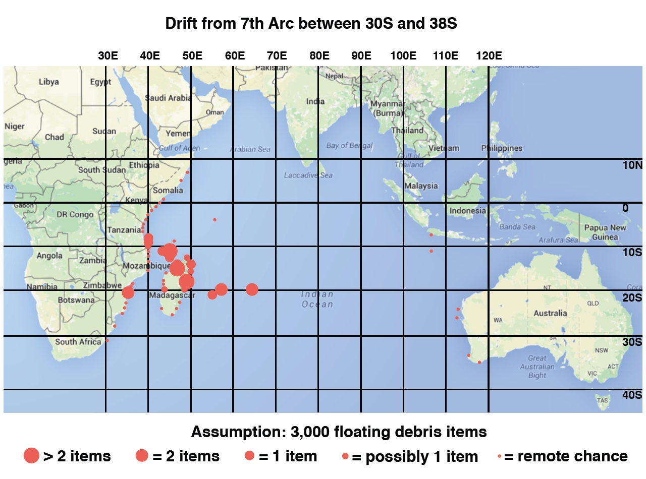 Destinations Of Floating Debris From MH Starting On The Th Arc - Map with latitude and longitude represented as parallel