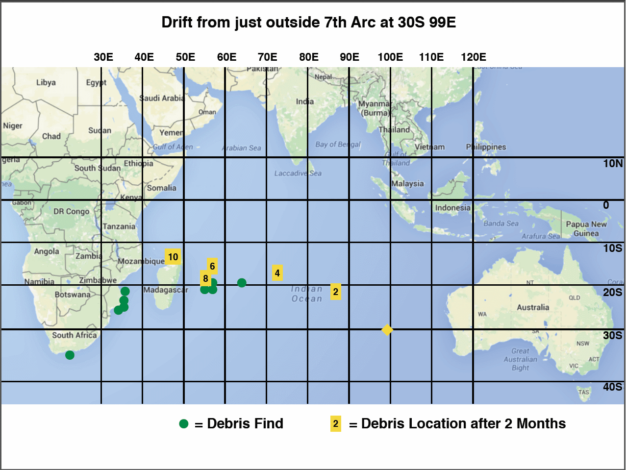 Indian Ocean Drift Map 30S 99E